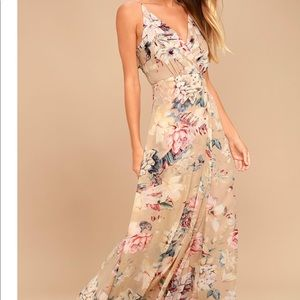 SOMETHING JUST LIKE THIS BEIGE FLORAL MAXI DRESS